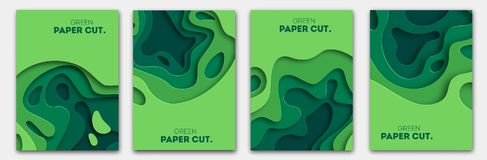 Banners set 3D abstract background, green paper cut shapes. Vector design layout for business presentations, flyers. Horizontal banners set 3D abstract Royalty Free Illustration