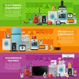 Horizontal banners set with different household technics. Horizontal banners set with different household technics. Electronic equipment in cartoon style Royalty Free Stock Photo