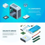 Horizontal banners set with different parts of personal computer vector illustration