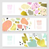 Horizontal Banners Set with Gold Glitter Geometric Elements. Poster Invitation Voucher Brochure Templates. Abstract Card Royalty Free Stock Photography