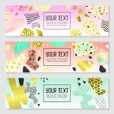 Horizontal Banners Set with Gold Glitter Geometric Elements. Poster Invitation Voucher Brochure Templates. Abstract Card Royalty Free Stock Image