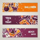 Horizontal Banners Set with Halloween Symbols Royalty Free Stock Photo