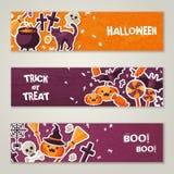 Horizontal Banners Set with Halloween Symbols Royalty Free Stock Photo