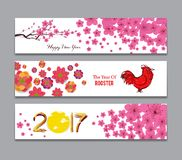 Horizontal Banners Set with Hand Drawn Chinese New Year Rooster.  Stock Photography