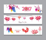 Horizontal Banners Set with Hand Drawn Chinese New Year Rooster.  Royalty Free Illustration