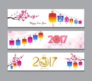 Horizontal Banners Set with Hand Drawn Chinese New Year Rooster.  Stock Illustration