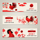 Horizontal Banners Set with Hand Drawn Roosters stock illustration