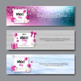 Horizontal Banners Set For International Women Day Holiday Sale Posters And Party Invitation Design 8 March Concept. Vector Illustration Royalty Free Stock Image