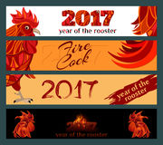 Horizontal Banners Set. Red Rooster vector illustration. Horizontal Banners Set with 2017 Chinese New Year symbol fire cock. Red Rooster vector illustration Royalty Free Stock Photography