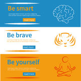 Horizontal banners set with texts be yourself, be brave, be smart and symbols Stock Photo