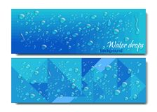 Horizontal Banners Set with Water Drops. Vector illustration. Realistic Transparent Dew on Blue Background.Geometric Stock Photos