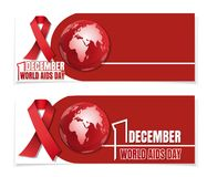 Horizontal banners set for World Aids Day. Vector illustration Royalty Free Stock Images