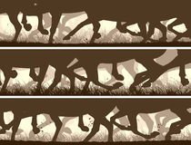 Horizontal banners of silhouette of galloping horses legs. Royalty Free Stock Photography