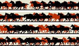 Horizontal banners of silhouette of prancing galloping horses. Stock Images