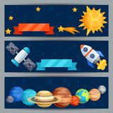 Horizontal banners with solar system and planets Stock Photography