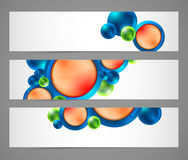 Horizontal banners with spheres, buttons Stock Photography