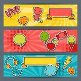Horizontal banners with sticker kawaii doodles.  Royalty Free Stock Images