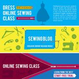Horizontal banners for tailor shop with pictures of sewing tools. Workshop web banner, poster sewing blog or class online. Vector illustration Royalty Free Stock Images