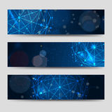 Horizontal banners template with abstract sphere. And shining backdrop. Vector illustration royalty free illustration