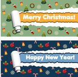 Horizontal banners with torn rolled paper stripes and winter holidays pattern.. Red and green horizontal banners with torn rolled paper stripes and winter Stock Image