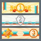 Horizontal banners with trophies and awards Royalty Free Stock Images
