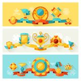 Horizontal banners with trophy and awards in flat Royalty Free Stock Image