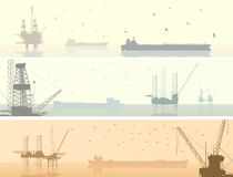 Horizontal  banners of units for oil industry. Royalty Free Stock Images
