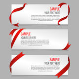 Horizontal banners vector set with red ribbons Royalty Free Stock Photo