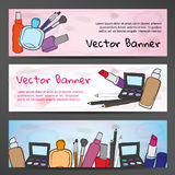 Horizontal banners in watercolor style with the image of cosmetics Royalty Free Stock Photography