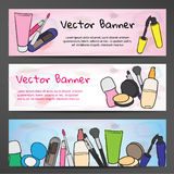 Horizontal banners in watercolor style with the image of cosmetics Stock Images