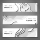 Horizontal banners with white paper cut Royalty Free Stock Photo