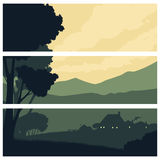 Horizontal Banners With A Silhouette Rural Landscape Royalty Free Stock Photos