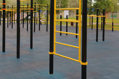 The horizontal bar and crossbar. In the outdoor sports Playground stock photo