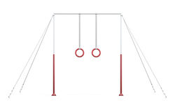 Horizontal bar with rings on ropes on white background. 3d rende Stock Photos