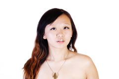 Horizontal Bare Shoulder Portrait Chinese Woman With Necklace. Bare Shoulder Portrait Young Chinese Woman With Necklace royalty free stock image