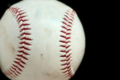 Horizontal Baseball Macro. With black background Stock Photos