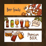 Horizontal beer banners Royalty Free Stock Photography
