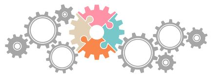 Horizontal Graphic Gears Border Big And Little Puzzle Retro Colors And Gray royalty free illustration