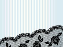 Horizontal black French lace background Stock Photo