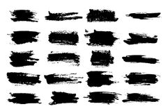 Horizontal black ink scratches or brush watercolor. Brush watercolor or horizontal, linear black ink scratches, blob or brushstroke scribble, paintbrush stroke Royalty Free Stock Image