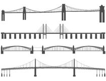 Horizontal black silhouettes of different bridges. Royalty Free Stock Image