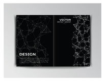 Horizontal black template of brochure with abstract elements Royalty Free Stock Photos