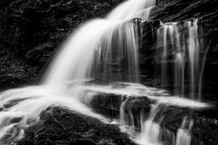 Horizontal black and white image of Onondaga Falls, in Ricketts Glen State Park Stock Photos