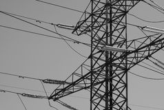 Horizontal black and white industrial power lines background bac Royalty Free Stock Photo