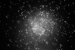Horizontal black and white particles in space Stock Photos