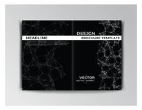 Horizontal black and white template of brochure Royalty Free Stock Images