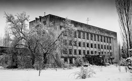 Horizontal black and white winter abandoned building Stock Photography