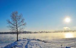 Horizontal blanc de l'hiver Images libres de droits