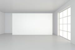Horizontal blank billboard in white room. 3d rendering Stock Photos