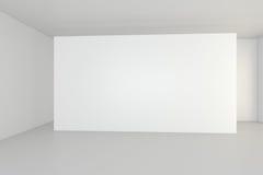 Horizontal blank billboard in white room. 3d rendering Royalty Free Stock Photos